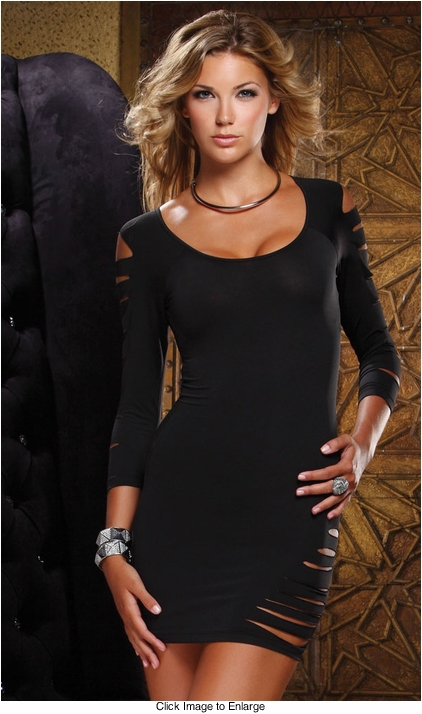 Off the Shoulders Black Mini Dress with Cutouts