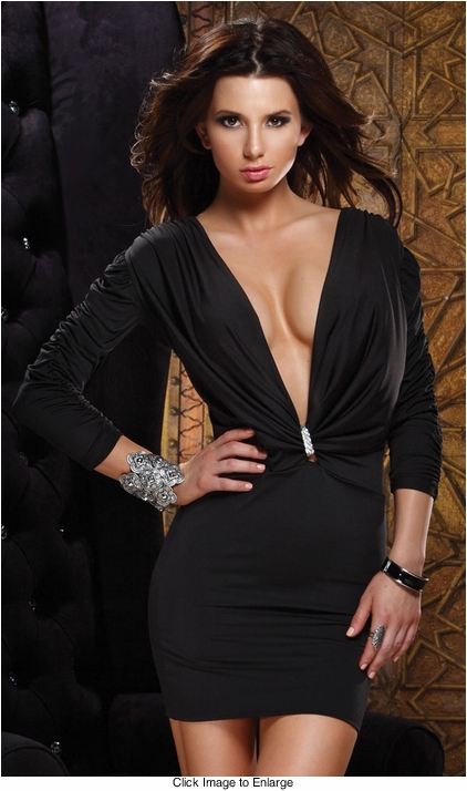Black Mini Dress with Ruched Sleeves