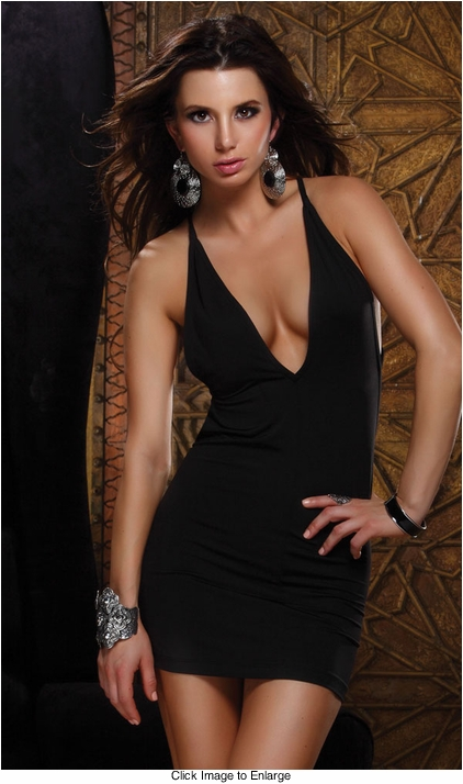 Black Mini Dress with Plunging V-neck and Criss Cross Back Straps