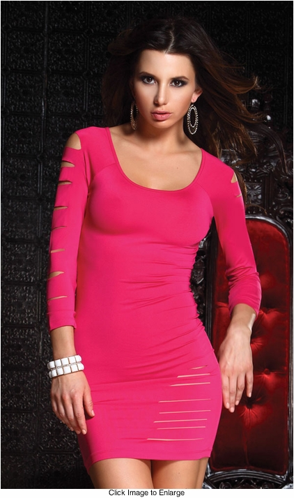 Hot Pink Mini Dress with Cutouts