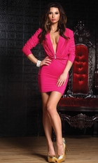 Hot Pink Mini Dress with Ruched Sleeves
