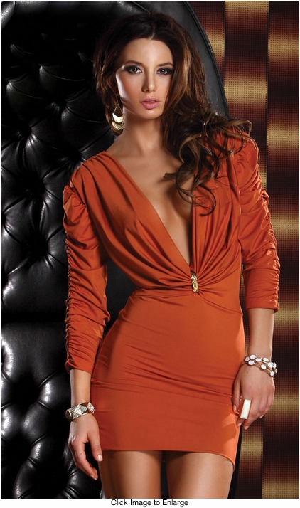 Spice Mini Dress with Ruched Sleeves