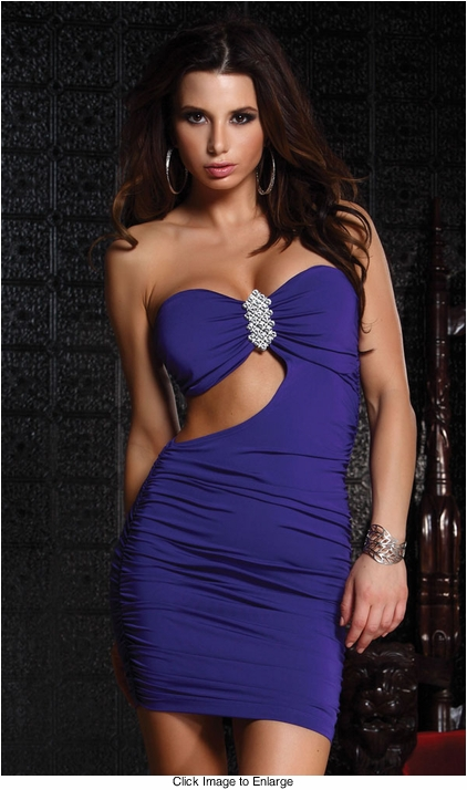 Strapless Mini Dress with Side Cutout and Ornamental Broach