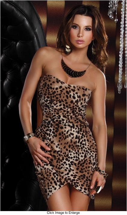 Strapless Animal Print Mini Dress with Side Cutout and Tulip Wrap Hem