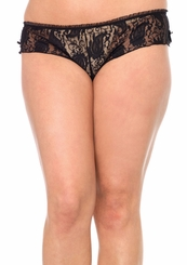 Plus Size Stretch Lace and Mesh Shorts with Peek-a-Boo Back