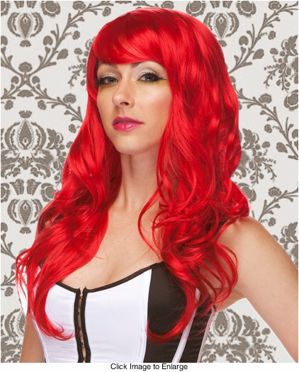 Long Wig with Tousled Curls and Face Framing Bangs in Firecracker Red