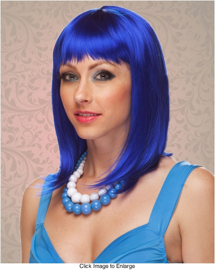 Chic Tapered Wig with Full Bangs in Dark Blue
