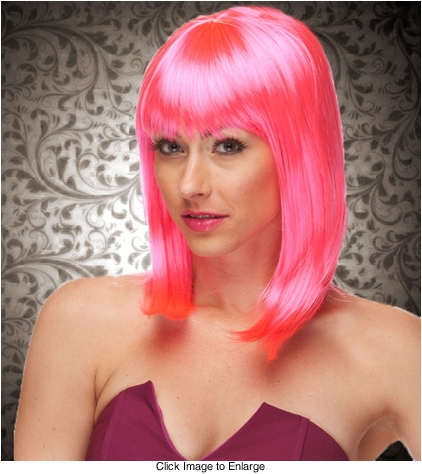 Chic Tapered Wig with Full Bangs in Hot Pink