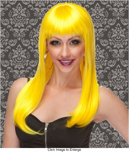Vixen Long Hair Wig with Full Bangs in Yellow