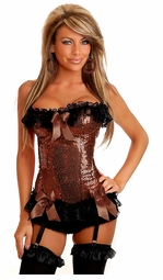 Bronze Sequin Corset with Lace-Up Back