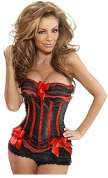Black Satin Corset with Red Lace Trim and Ruffled Shorts
