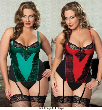 Plus Size Lace and Satin Bustier and Thong