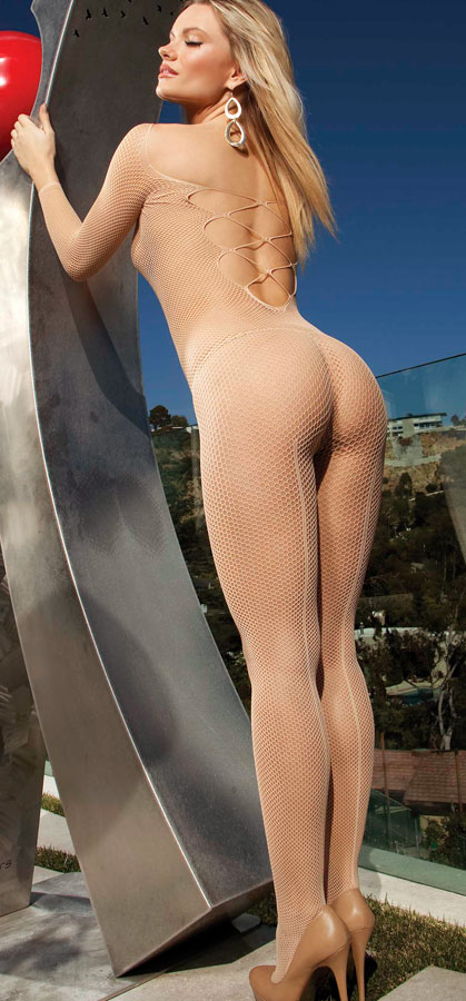 Fishnet Long Sleeve Bodystocking with Criss-Cross Back
