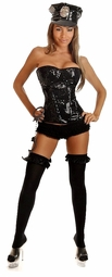 Sequin Corset Police Costume with Hat, Badge and Handcuffs