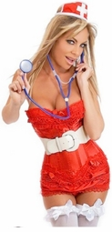 Red Ruffle Corset Nurse 7-Piece Costume