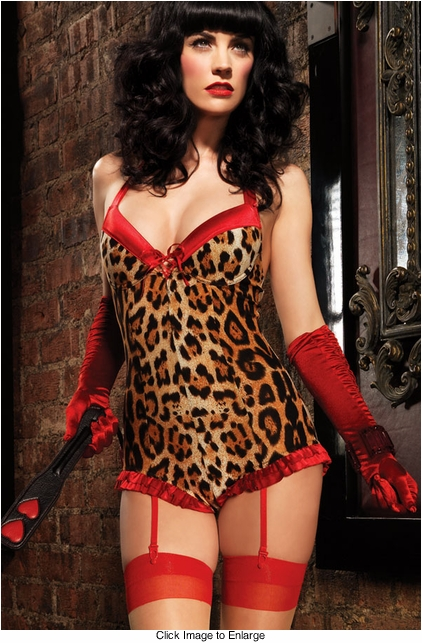 Leopard Underwire Romper with Satin Trim and Garter Straps