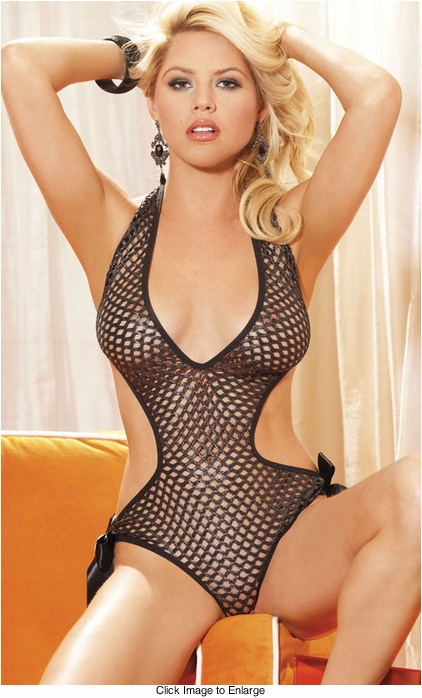 Cut Out Sexy Fishnet Bodysuit