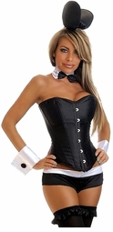 Corset Tuxedo Bunny Costume with Ears, Choker, Wrist Cuffs and Shorts