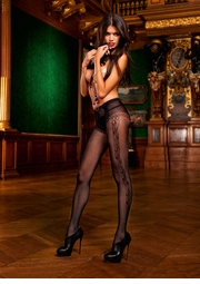 Fishnet Pantyhose with Floral Side and Lace Panty Design