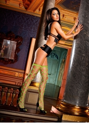Neon Green Diamond Net Stockings