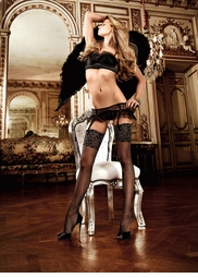 Fishnet Stockings with Wide Silver Floral Cuffs