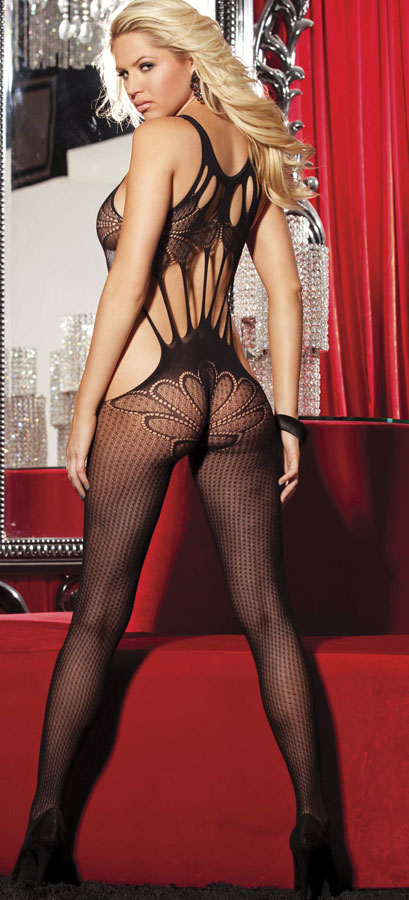 Strappy Butterfly Lace Bodystocking