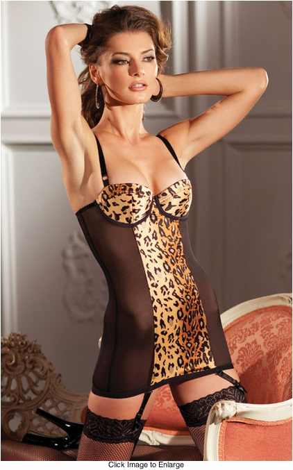 Leopard Print Garter Mini Dress with Zipper Back