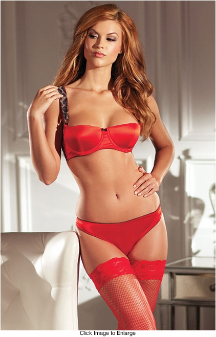 Red Bra and Panty with Leopard Heart Detail