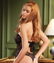 Strapless Lace Bodysuit with Hook&Eye Front