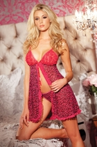 2-Piece Sexy Leopard Babydoll with Matching Thong
