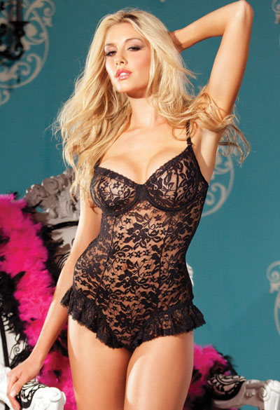 Black Lace Underwire Bodysuit