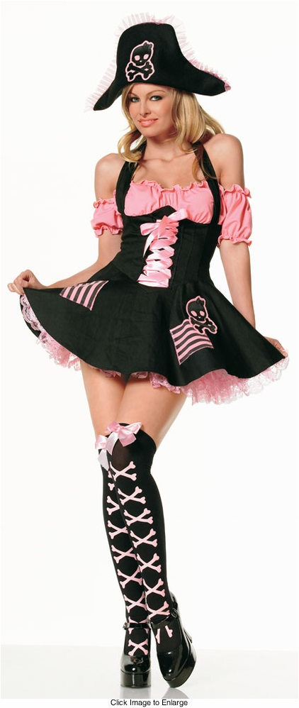 Pink and Black Skull Treasure Hunt Pirate Costume from Leg Avenue