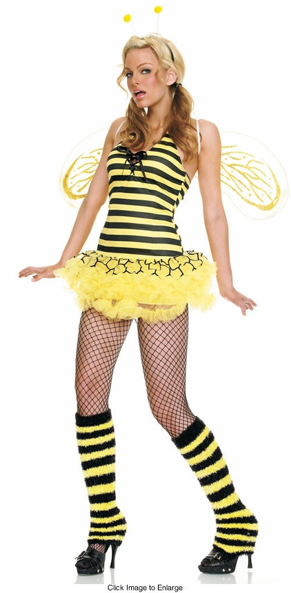 Queen Bee Costume with Fuzzy Leg Warmers