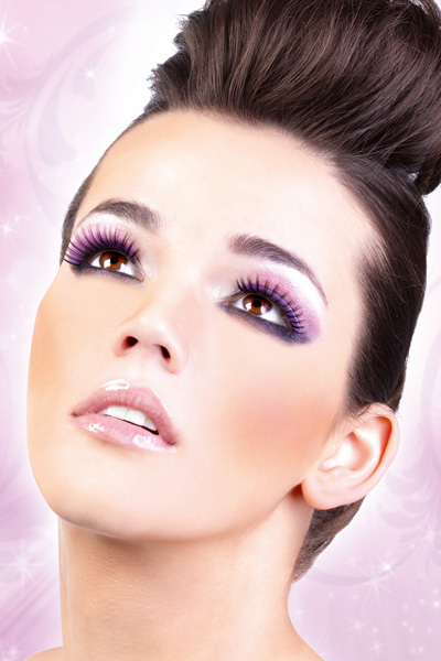 Black and Purple False Lashes