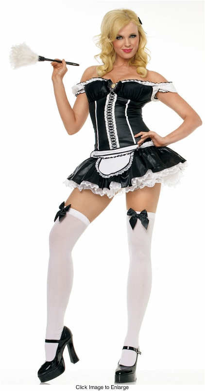 Naughty French Maid Costumes with Feather Duster