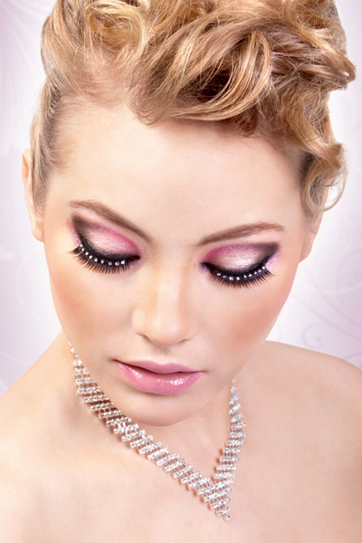 Rich Black Lashes with Clear Crystals