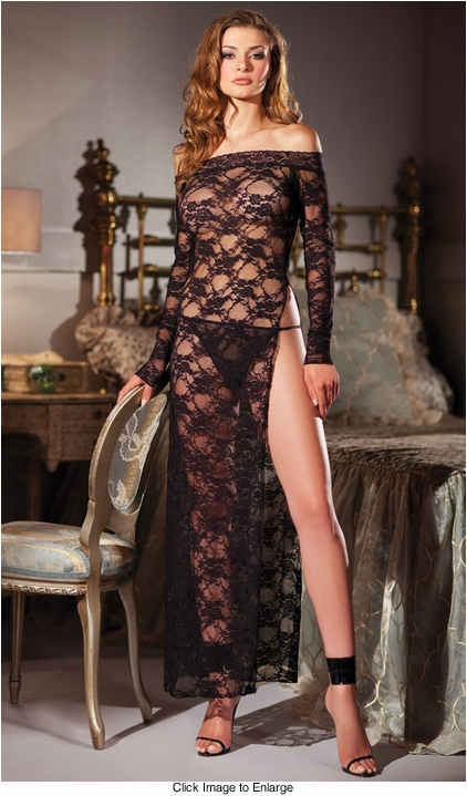 Long Lace Gown with High Slit