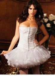 Bridal White Strapless Brocade Corset with Back Lacing