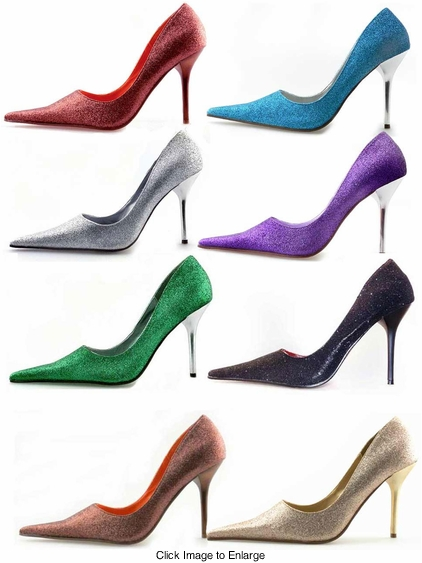 "3.75"" Pointy Toe Glitter Pumps ""Vespa"" from Michael Antonio"