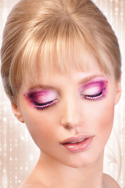 Black False Lashes with Hot Pink Crystals