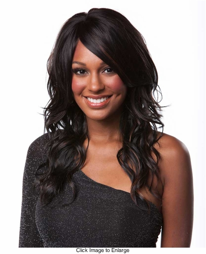 Heat and Styling Friendly Long Hair Wig with Tousled Water Waves and Side Swept Bangs