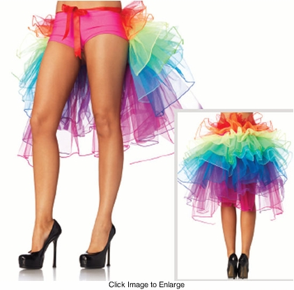 Layered Organza Rainbow Bustle Skirt