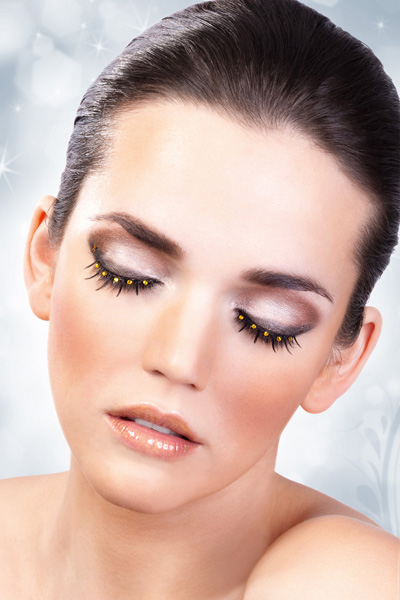 Black False Lashes with Yellow Crystals