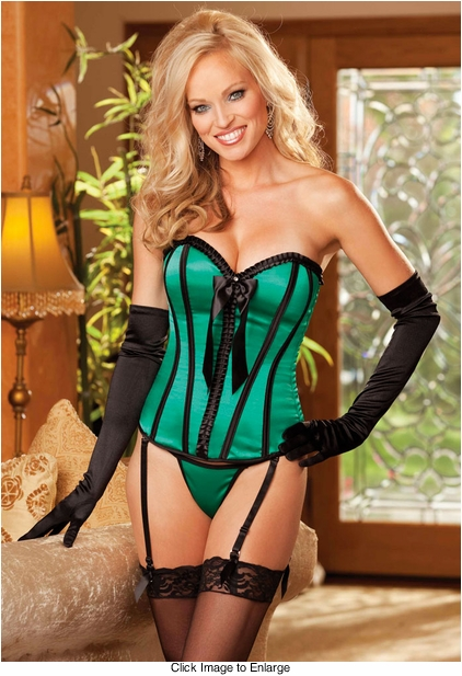 Instant Bombshell Corset and G-string in Emerald Green