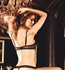 Black and Silver Embroidered Bra With Underwire