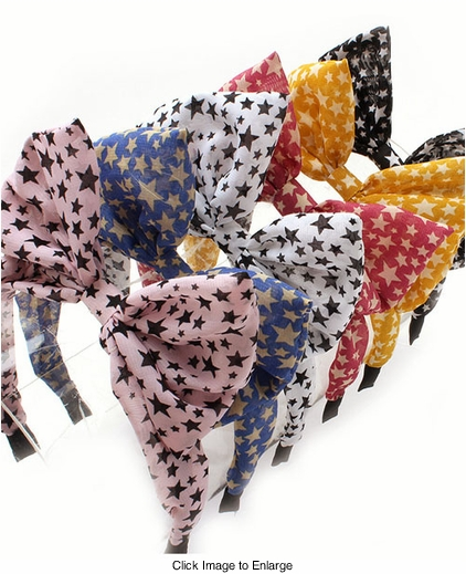 Star Print Bow Headband