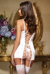 Satin and Lace Garter Dress with Thong