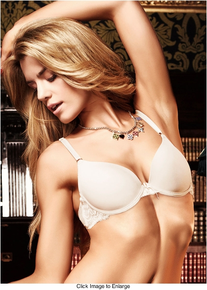 Ivory Microfiber And Lace Bra With Underwire