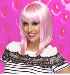 Light Pink Tapered Wig with Bangs Doll