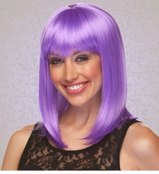 Chic Tapered Wig with Full Bangs in Lavender